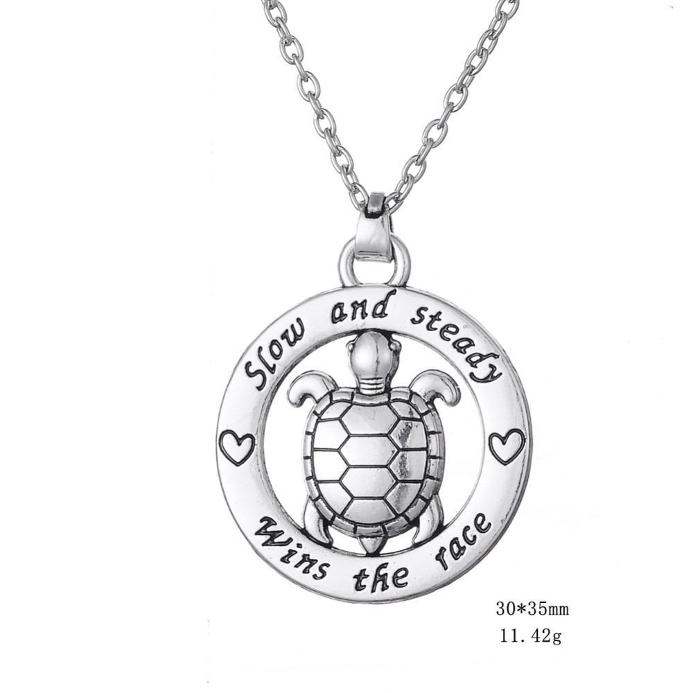 My Shape Turtle Jewelry Slow And Steady Wins The Race Tortoise Circle Affirmation Pendant Inspirational Word Necklace Animal 1