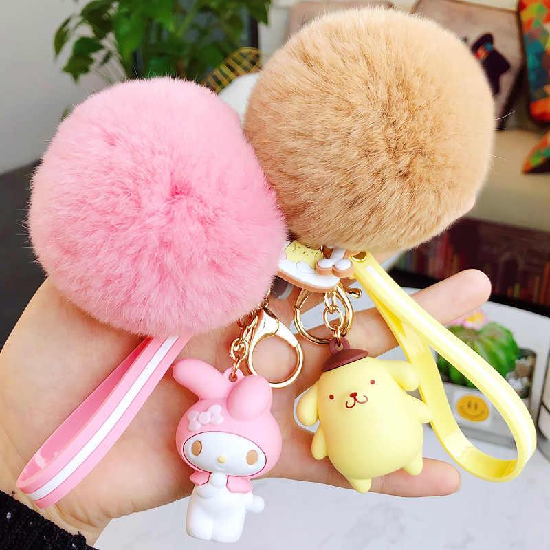 Anime My Melody Pudim Cinnamoroll Cão gato Bola De Pêlo Chaveiro animais fofos De Pelúcia Chaveiro Bolsa charme Chaveiro Pingente para Meninas