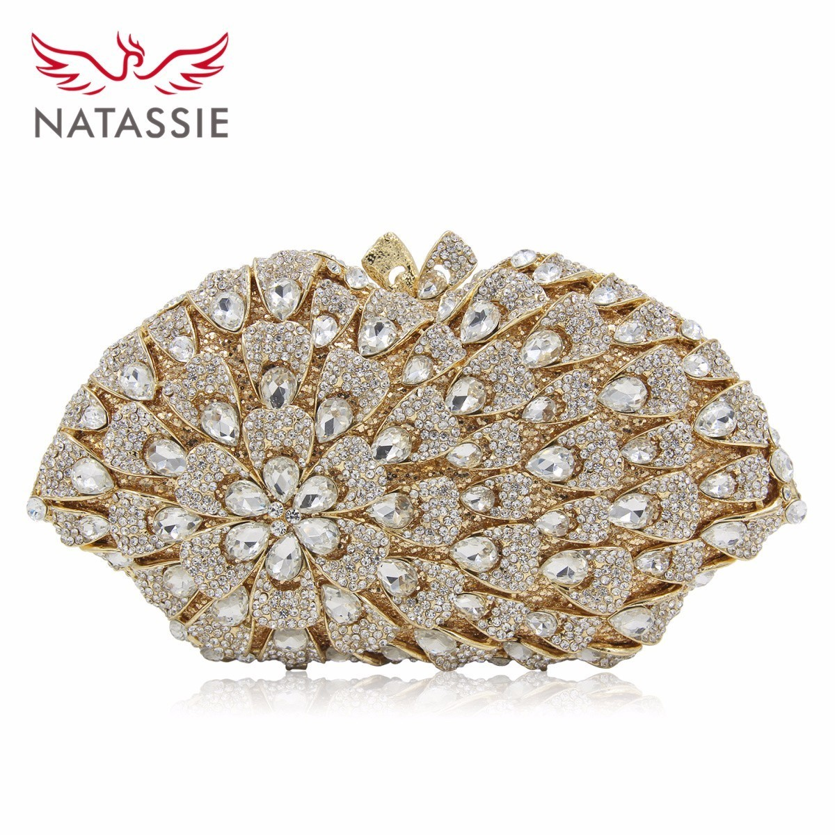 NATASSIE New Design Crystal Clutch Big Flower Women Evening Bag White Gold Ladies Wedding Purse Good Quality vertu signature s design white gold реплика москва