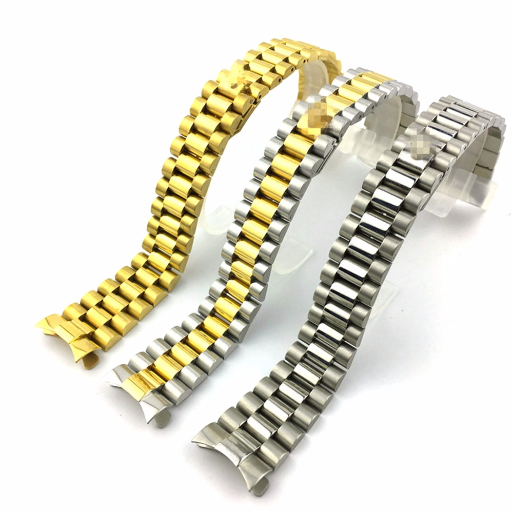 20mm Gold Middle Gold Silver Watch Band Strap Solid Stainless Steel Curved End President Style Bracelet Strap Belt Wristband