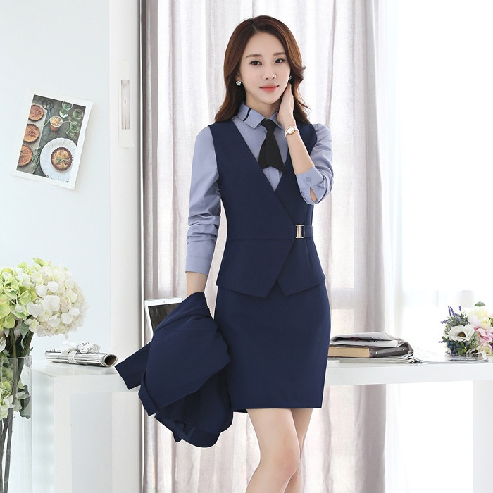 Two Piece Sets Women Business Suits with Skirt and Vest Waistcoat Sets Ladies Work Wear Clothes Office Uniform Styles
