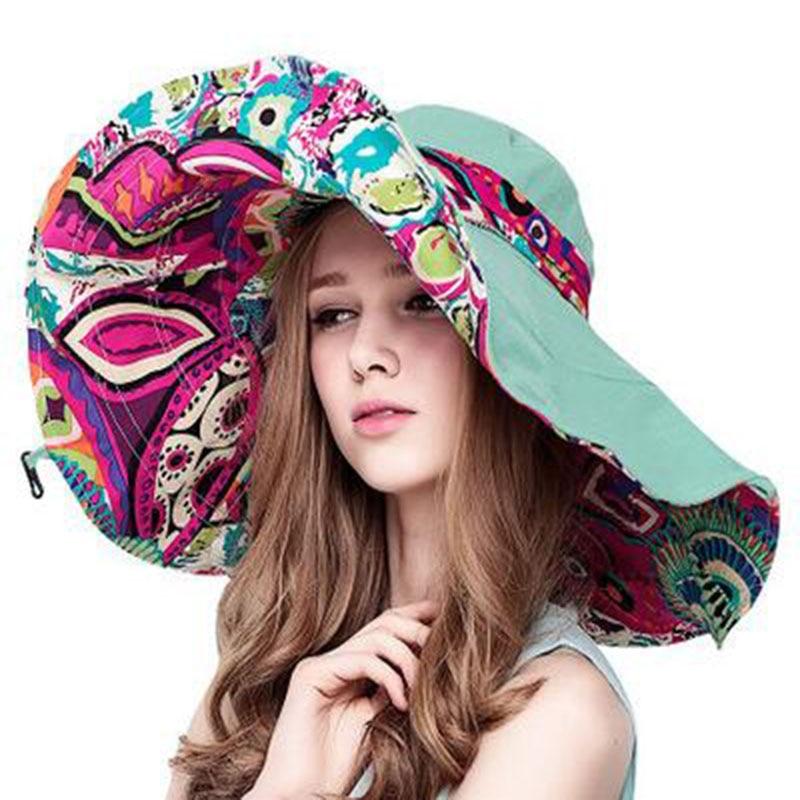 BINGYUANHAOXUAN Sun Hats Hats Sun Hats For Women Summer Large Beach Hat Flower printed wide brim in Women 39 s Sun Hats from Apparel Accessories