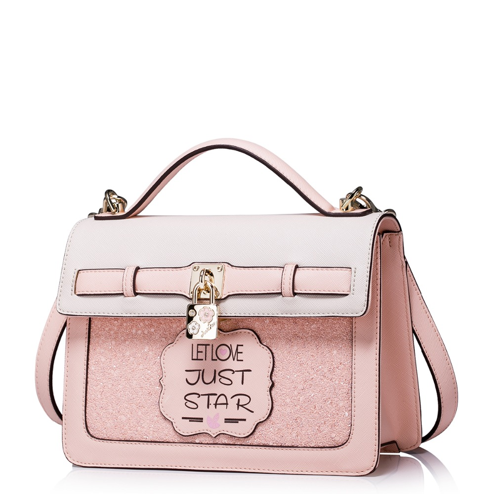 ФОТО Women's Padlock Charm Paillette Convertible Pink Leather Tote Handbag Small Messenger Cross Body Bag
