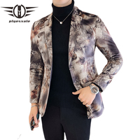 Plyesxale Velvet Blazer Man 2018 Slim Fit Blazer Hombre Casual Mens Blazers Jacket Stage Clothing For Men Fashion Printed Q152