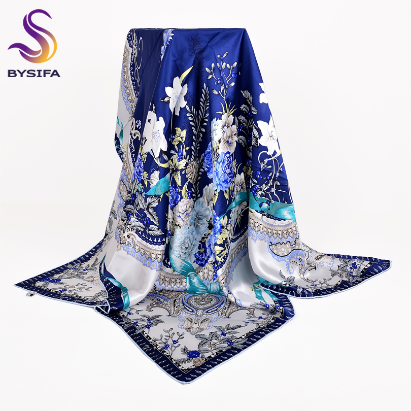 [BYSIF] Blue White Silk   Scarf   Shawl New Chinese Style Foral Design 100% Pure Silk Women   Scarves     Wraps   Spring Autumn Headscarf