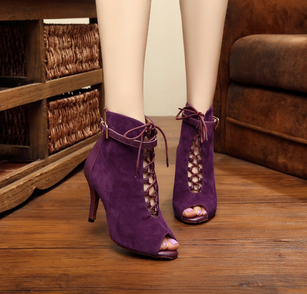 Dalam stok borong & runcit kasut salsa tumit tinggi Latin Ballroom Dance Boots wanita
