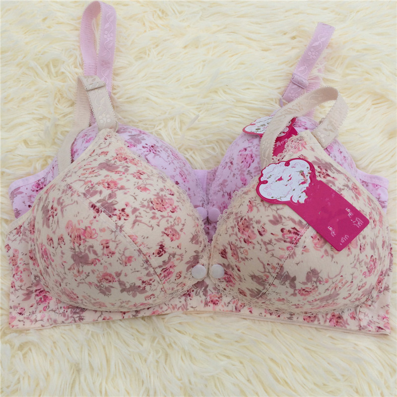 Pregnant Women Nursing Maternity Bra Floral Printed Breastfeeding No Rims Front Open Buckle Lace Nursing Bra Breast Feeding Bras