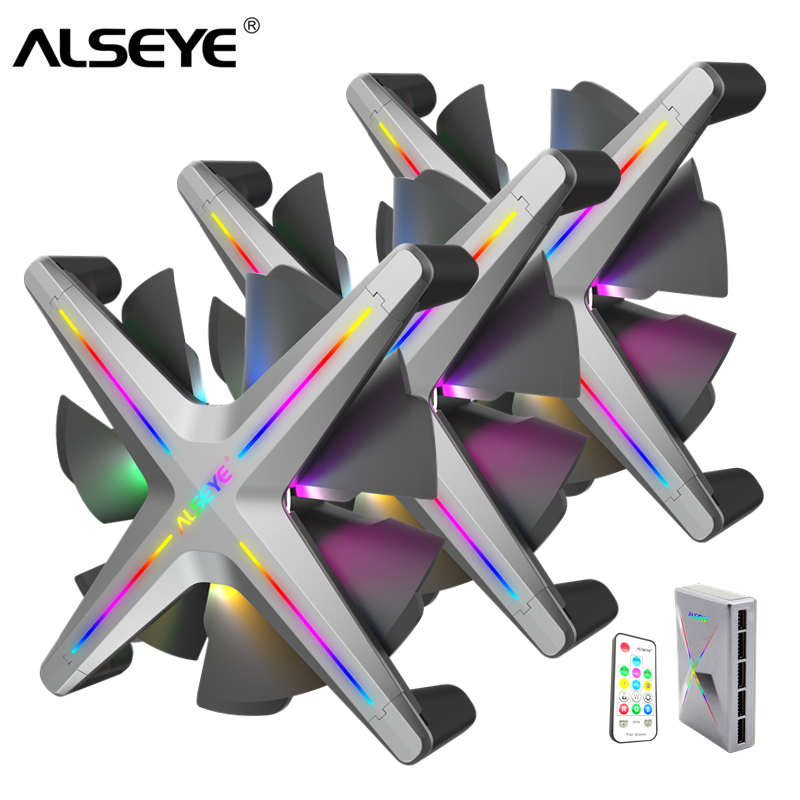 ALSEYE X12 RGB Fan 3pieces 120mm PC Fan Set With Romote Control Compatible With Asus Gigabyte Msi Motherboard RGB Control