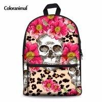 Coloranimal Flower Sugar Women Men Backpack Children Casual Mochilas Schoolbags Skull Punk Pattern Kids Teen Girl Canvas Daypack