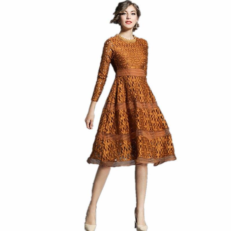 Favourite Hollow Out Patchwork Women Slim Dresses Full Sleeve Elegant Lace Party Spring Summer A Line Dress Vestidos Sundress