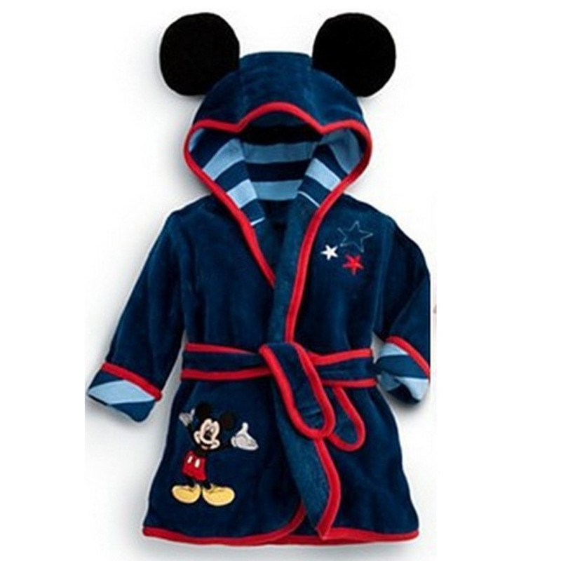 Men's Sleep & Lounge Bathrobe Kids Boys Robes Children Bathrobe Hooded Cap Soft Velvet Robe Pajama Kids Cotton Warm Clothes Baby Lovely Home Clothes