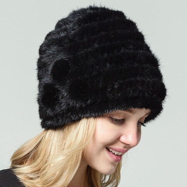 QIUSIDUN puro Natural tejido visón Real sombrero de piel de Invierno para  mujer gorros gorras de f61e1810374