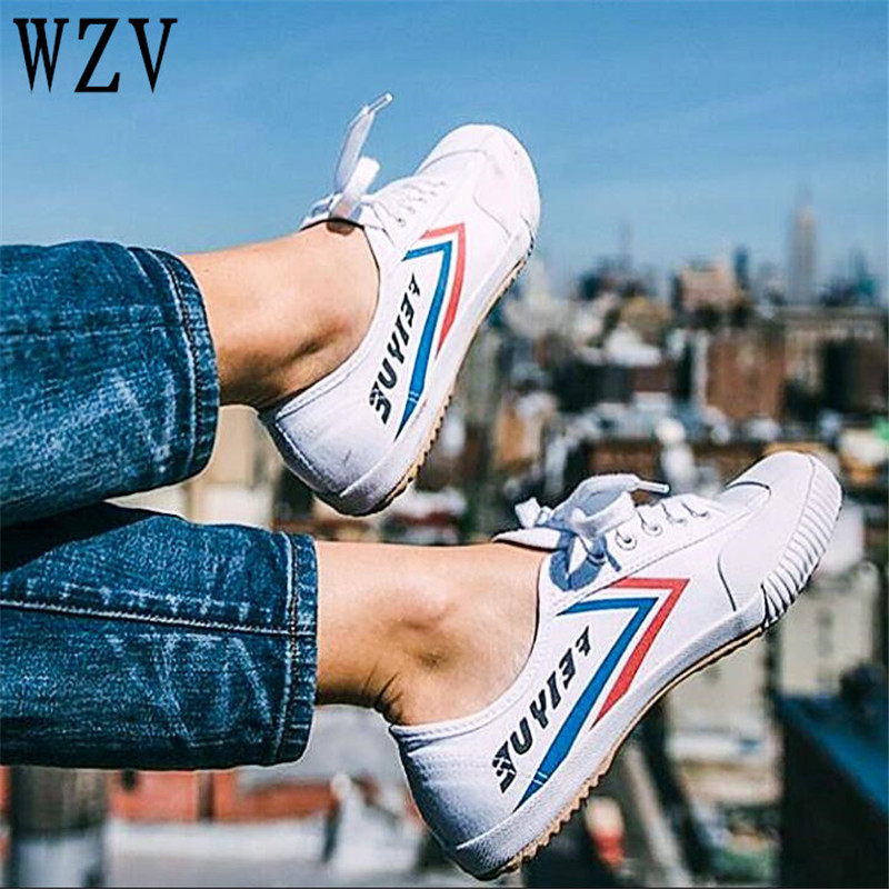 Plus Size34-47 FEIYUE 2018 Summer Fashion women shoes Canvas shoes Lcae-up Casual shoes Unisex Black white Flat Shoes B557