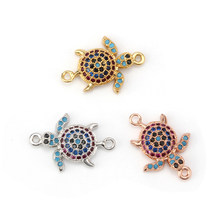 MEIBEADS Micro Pave Turtle CZ Zircon Charms Connectors Jewelry Accessories Fit Women Diy Turtle Bracelet Necklaces Pendants(China)