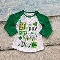 Meninos do bebê do algodão de St Patrick day boutique crianças Happy St Patrick's day raglans partido algodão raglans