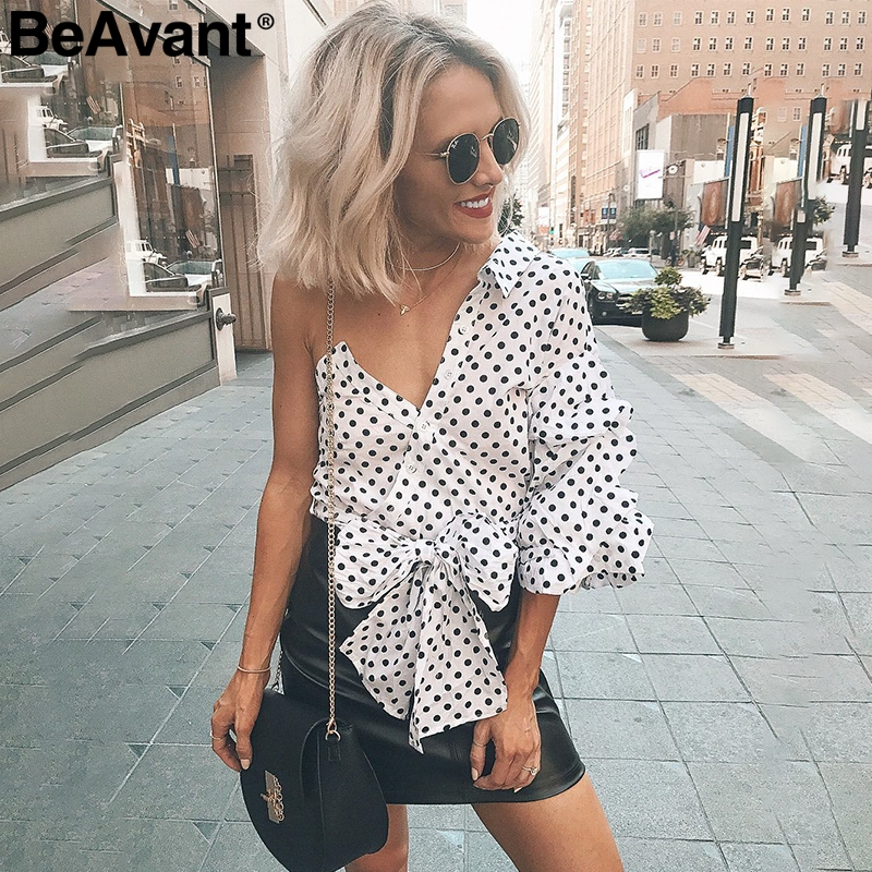 BeAvant Sexy ruffle lace   blouse   women   shirts   One shoulder lantern sleeve   blouse   2018 Summer white   blouse     shirt   female