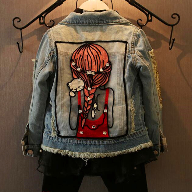 New 2017,Girl Jackets,Girls Denim Outercoat,Children Outerwear,Spring and Autumn Clothes,Kids Jeans Clothes,For 1 12T