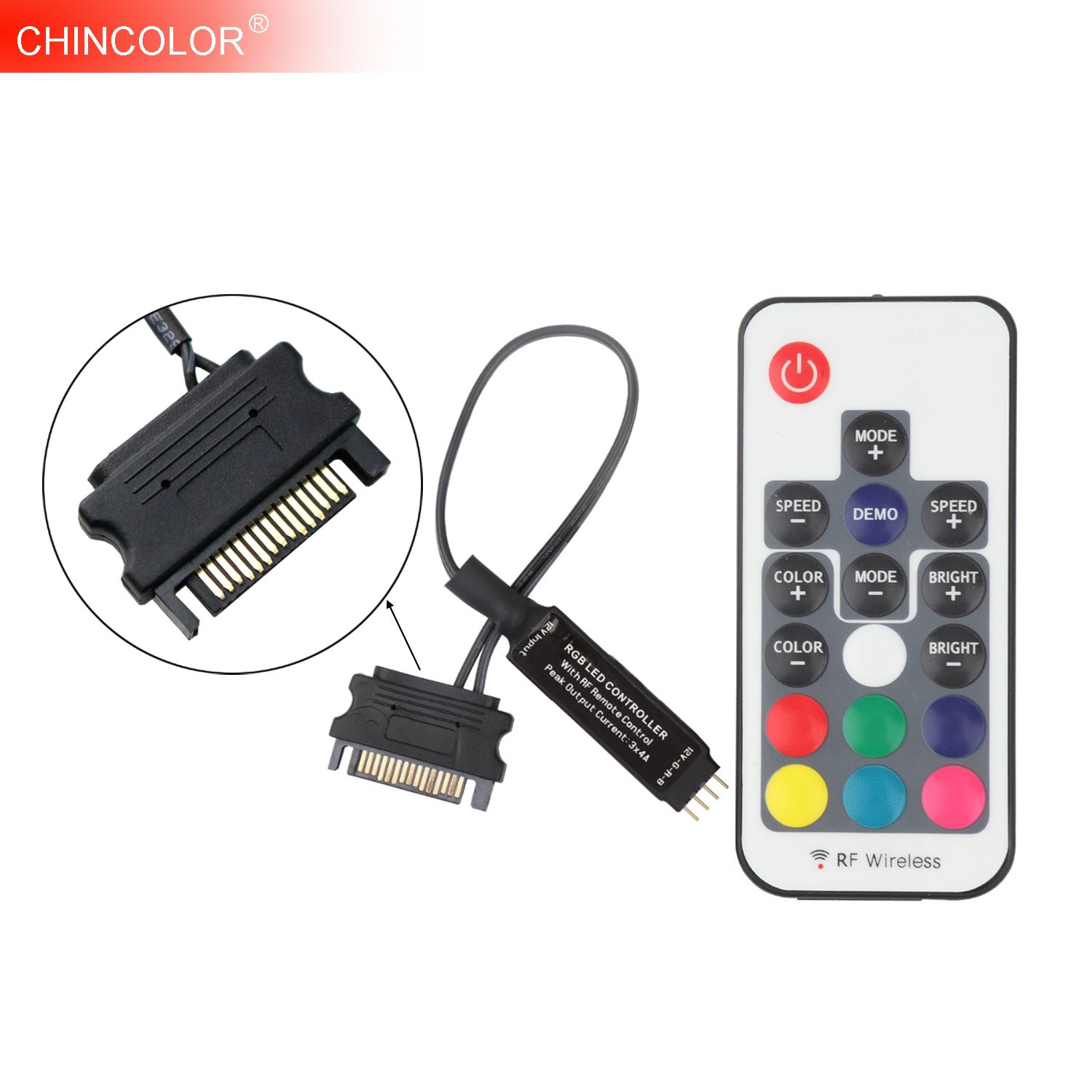 SATA RGB Controller RF Remote Wireless Controler DC12V 3*4A Sata For PC Computer Outlet Jack 5050 RGB LED Strip Tape Lighting JQ