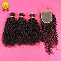 DHL Бесплатная Доставка 7А Монгольский Странный Вьющиеся Волосы С Закрытием Человеческих Волос Бразильский Kinky Вьющиеся Волосы Девственницы С Закрытием