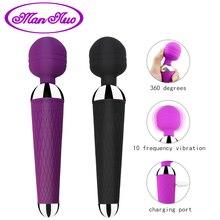Человек nuo мощный Oral Clit Вибраторы для женщин USB зарядка AV Magic палочка Вибратор массажер взрослых Секс игрушки продукт секса