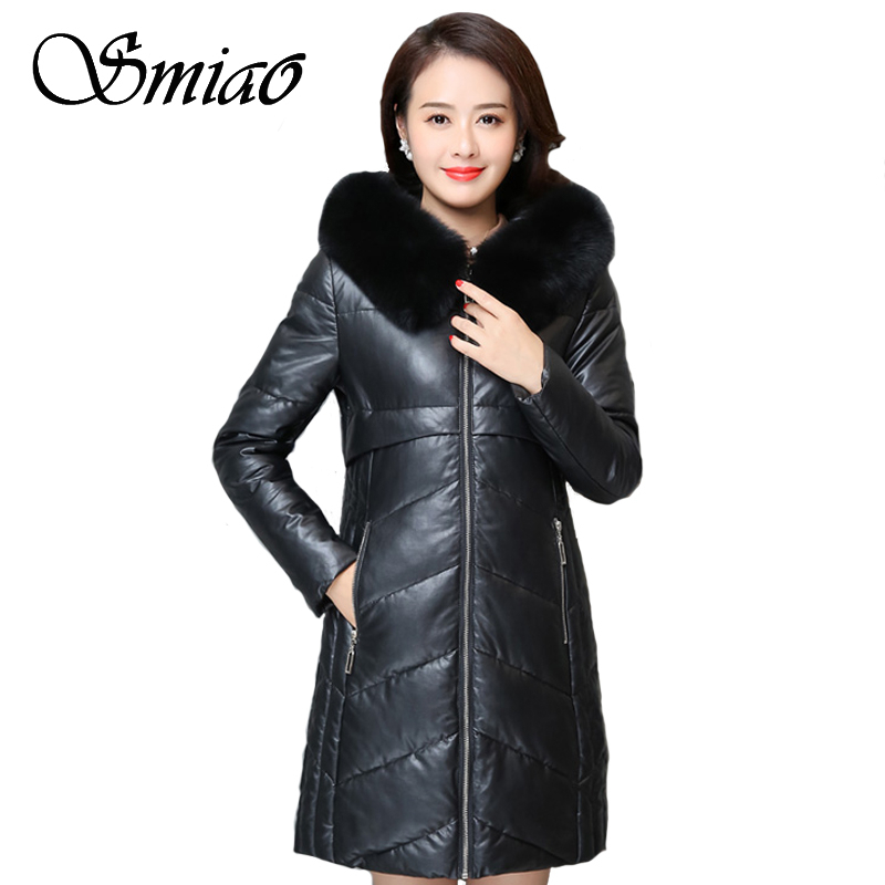 Women Winter   Leather   Jacket PU Long Parkas 2018 New Plus Size 6XL Ladies Fur Collar Hooded Cotton Padded Coat Female Outerwear