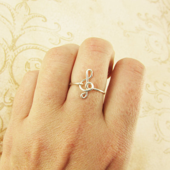 PINJEAS Treble Clef Ring Rose handmade Music Note G Clef Wire Wrap Friendship Ring Musician Gift Ideas Jewelry