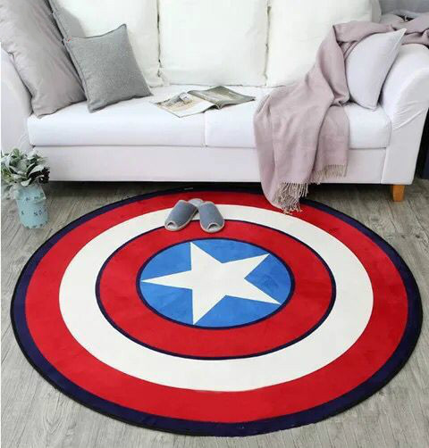 Polyester Captain America Shield Carpet Cartoon Children Livingroom Hallway Mat Sofa Circle Computer Cushion Rug Pad