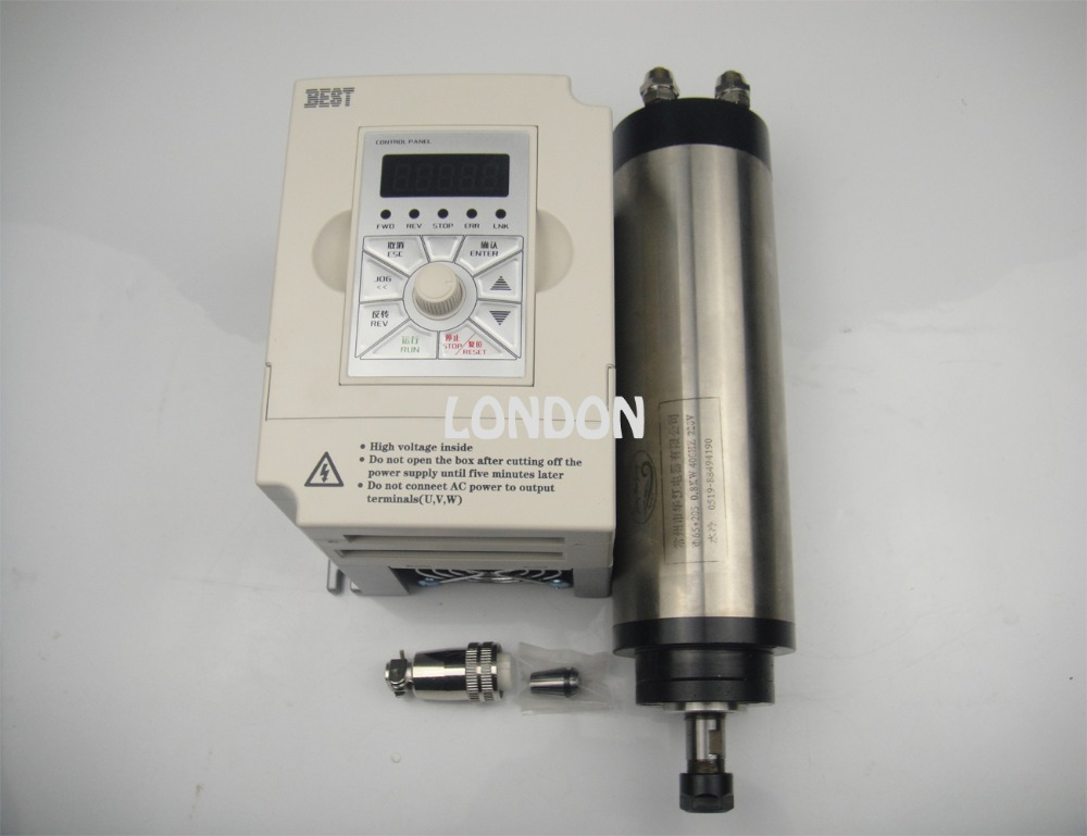 CNC spindle kit ER11 800w water cooling spindle motor + 1.5KW inverter water cooling spindle sets 1pcs 0 8kw er11 220v spindle motor and matching 800w inverter inverter and 65mmmount bracket clamp
