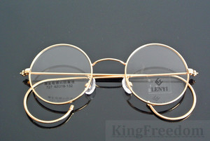 Image 2 - 42mm Vintage Round Gold Wire Rim Eyeglass Frame Spectacles Glasses Rx able 727