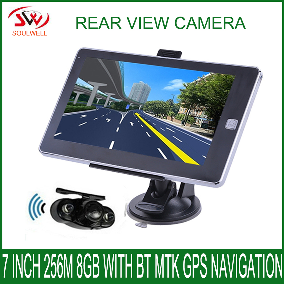 7 inch Vehicle 256M 8GB 800*480 MTK GPS Navigation CPU800Mhz CE 6.0 navigator with Wireless Rear View camera free newest maps