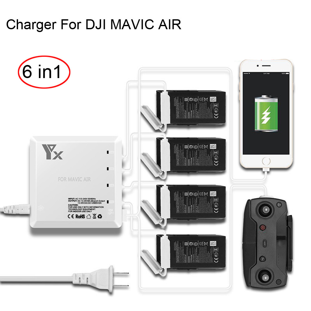 6 In1 AIR Battery Remote Charger Hub Parallel Dual USB For DJI MAVIC AIR Drone