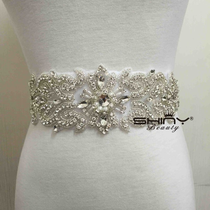 Shinybeauty rhinestone applique wedding sash applique and for Wedding dress accessories belt