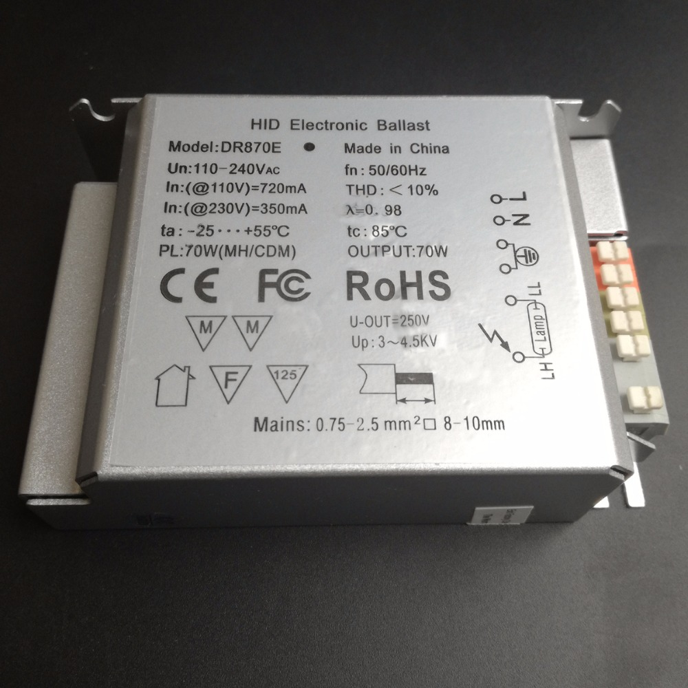 US/EU Standard High-efficiency Energy-saving 70W Wide Voltage 85-265V HID Electronic Ballast for G12, G8.5, RX7S, TT Lamp DR870E