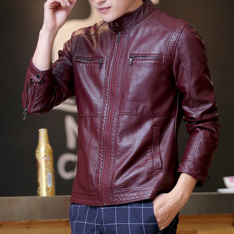 Leather jacket men fashion stand collar pilot sheepskin coat male motorcycle leather jackets jaqueta de couro Brand Clothing 1