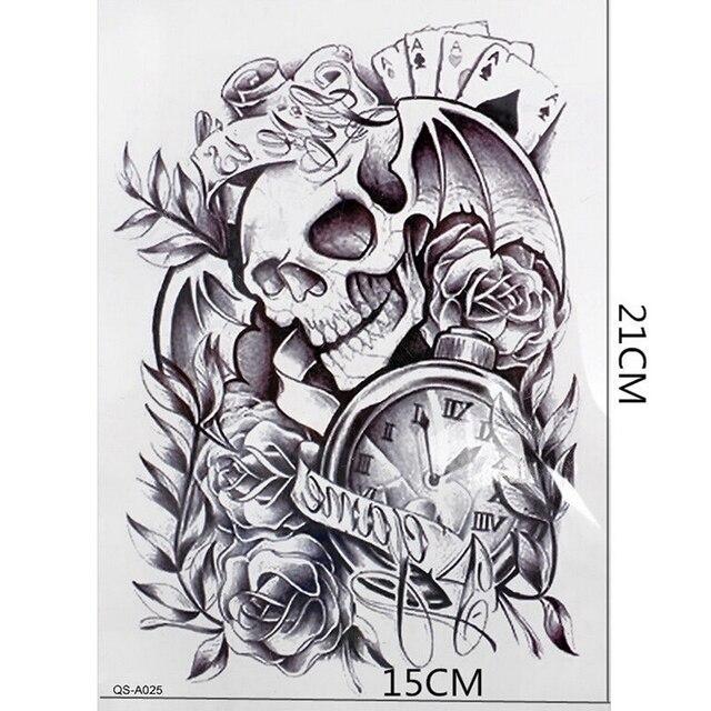 Corps Bras Manches Adhesif Faux Tatouage Vieux Horloge Mort Crane