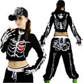 2016 New fashion Jazz women Hip hop dance top ultra-short outwear Skull Printing dance costume Halloween Performance Coat