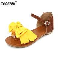 TAOFFEN phụ nữ dép bohemia bowknot mắt cá chân quấn phẳng dép thương hiệu thời trang nữ giày dép kích thước lớn 31-45 P23538