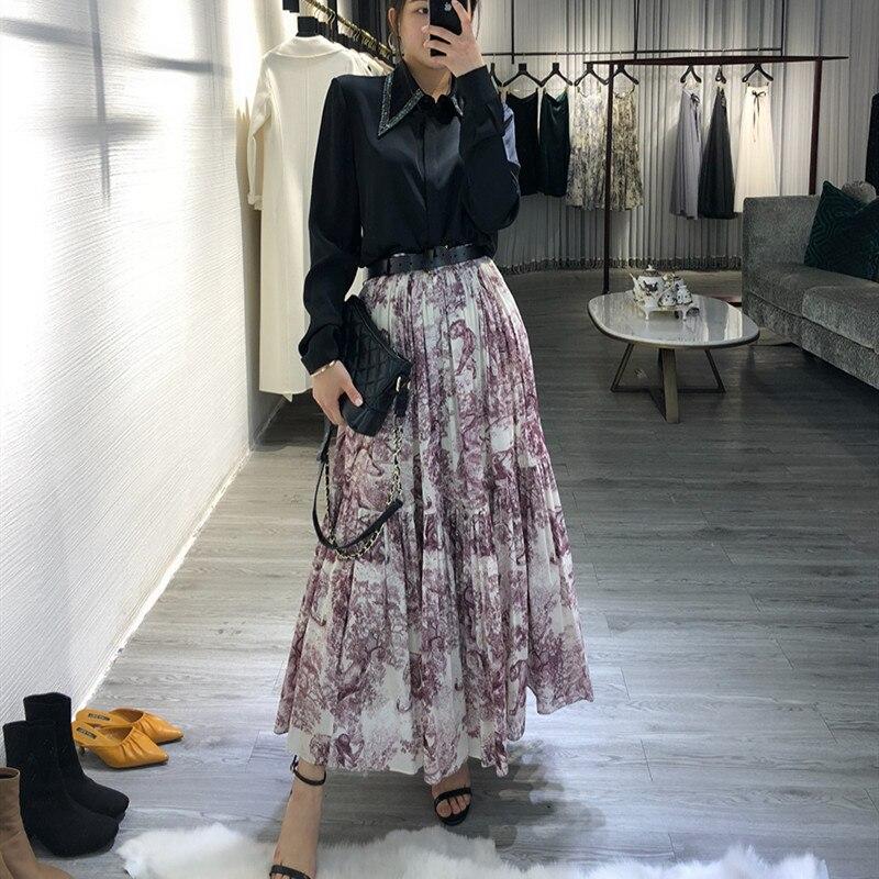 Femmes animal imprimé léopard longue jupe grand ourlet plissé Maxi jupes nouveau 2019 printemps été taille haute marque piste jupe rouge