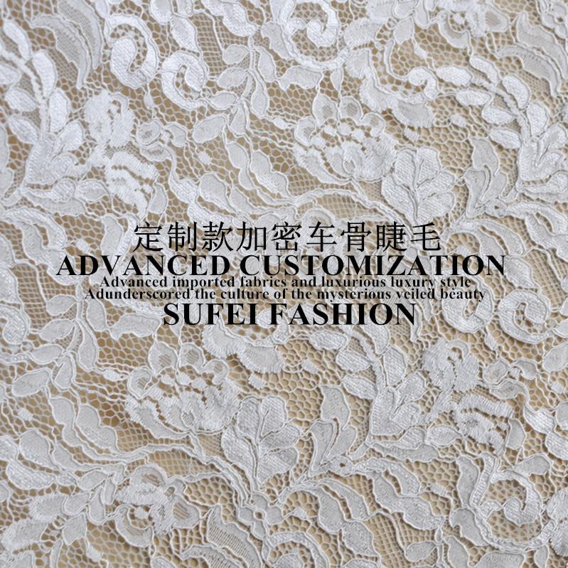150*150 cm cils blanc coton polyester dentelle robe vêtements blouse tissu S028