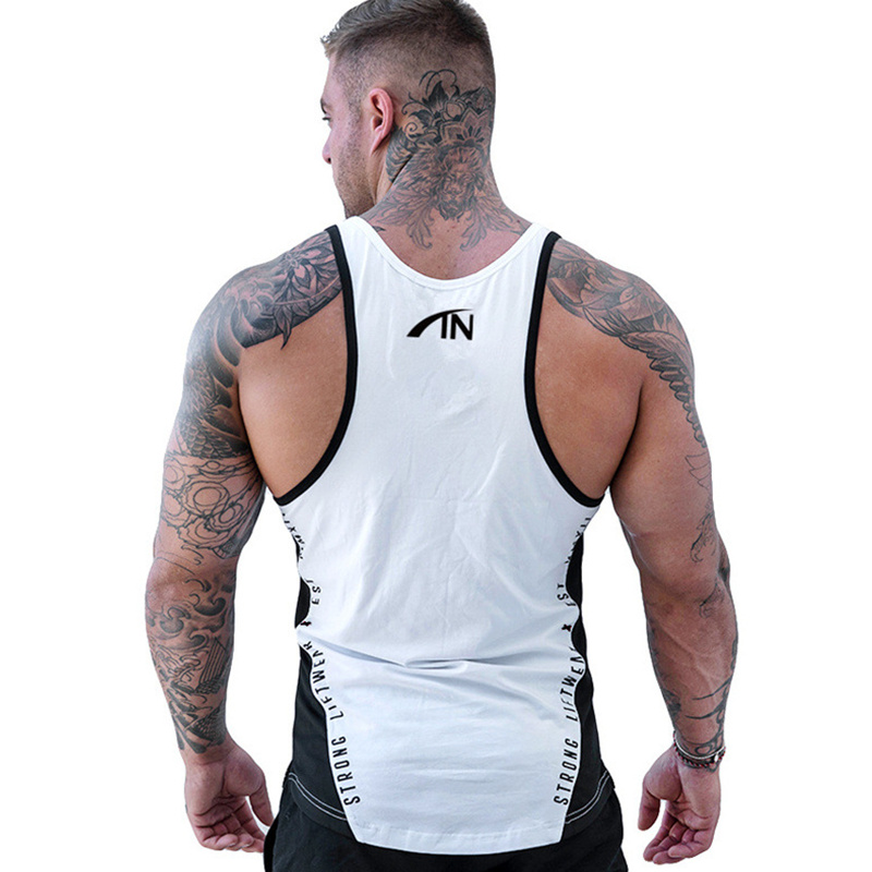 Men Bodybuilding Tank Tops Gyms Workout Fitness Cotton Sleeveless shirt Joggers Clothes Stringer Singlet Male Summer Casual Vest 51