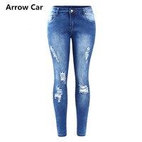 Ripped Fading Jeans Women`s True Denim Skinny Distressed Jeans For Women Jean Pencil Pants Plus Size 3XL 4XL