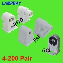 4-200 para T8 T10 T12 świetlówka led świecznik FA8 R17D (HO) G13 gniazdo lampy pojedyncza szpilka Bi-pin fluorescencyjne podstawa żarówki