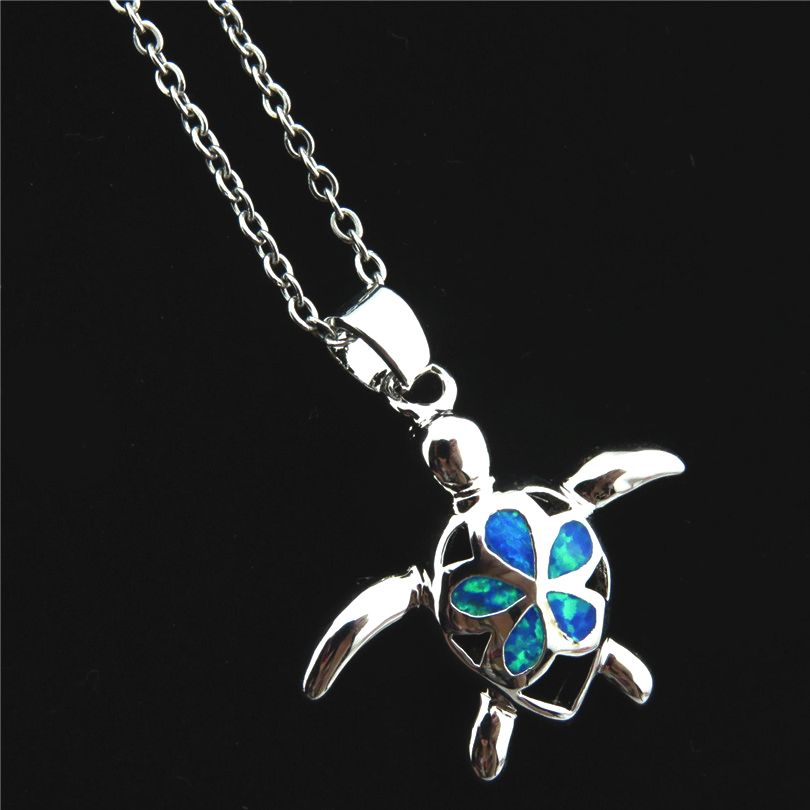 GLOWCAT Blue Fire Opal Stone Turtle Pendant Necklace Rhinestone Tortoise Charm Women Girl Stainless Steel Rolo Chain Necklace rhinestone pendant chain necklace