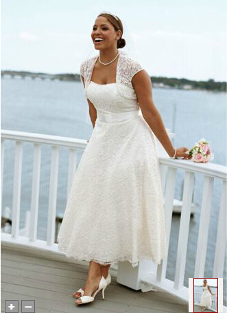 Wd1557 Lace Jacket Tea Length Plus Size Wedding Dress Online Sale In