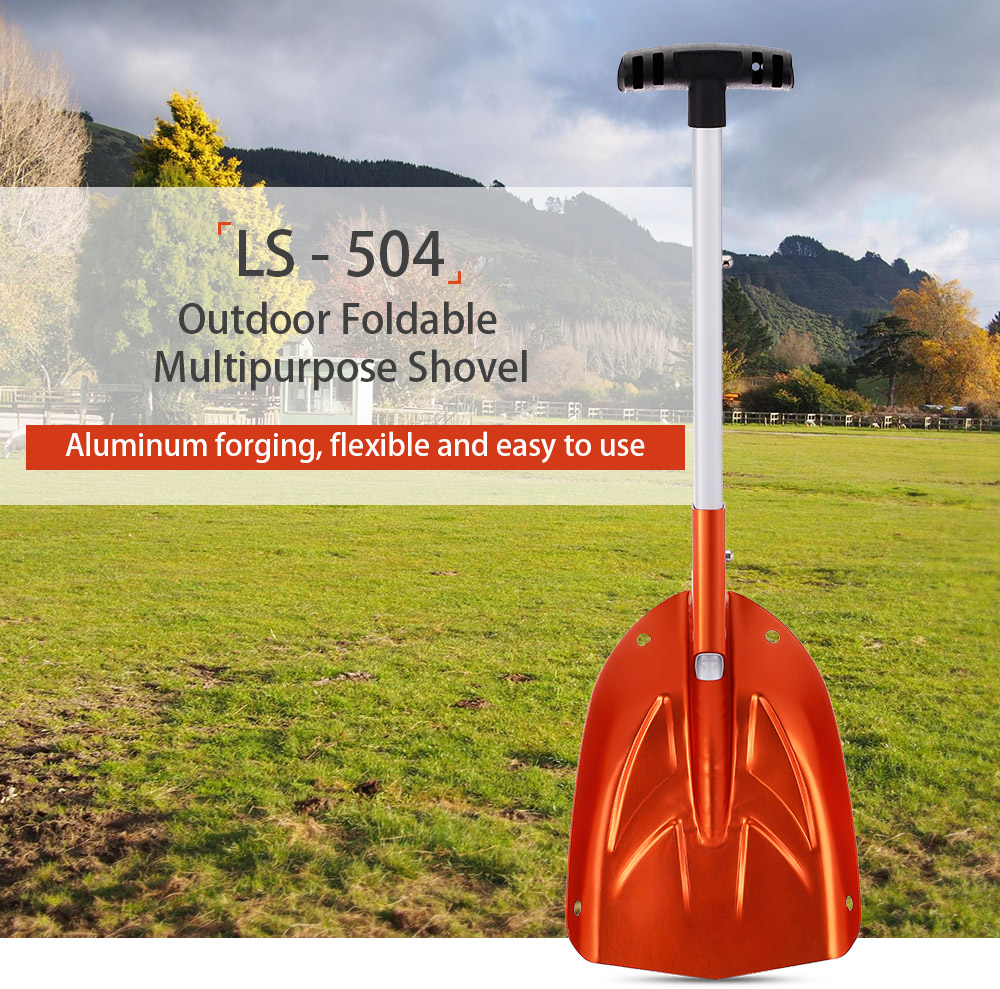 LS - 504 Foldable Shovel Aluminum Handle Portable Shovel Spade Emergency Snow Tool for Outdoor Hiking Gardening Camping