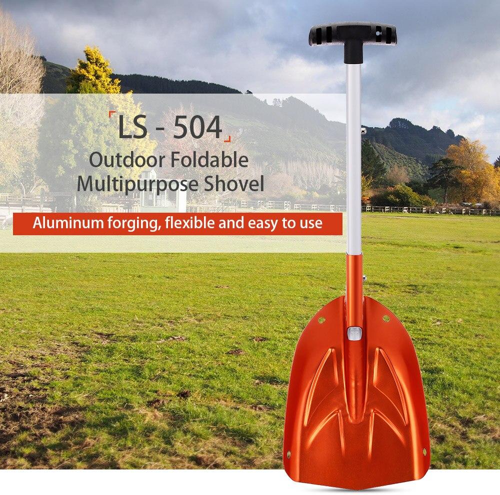 LS-504 pala plegable mango de aluminio pala portátil pala de emergencia nieve herramienta para senderismo al aire libre jardinería Camping