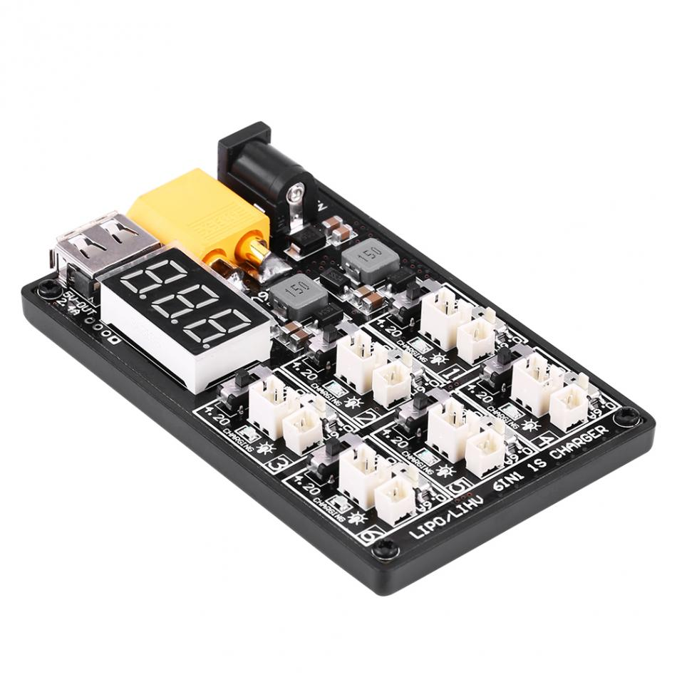 6in1 LiPo Charging Board High Quality 1S LiPo Battery Charger Charging Board RC Accessory with USB Interface