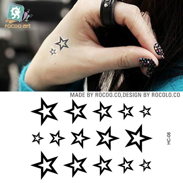 2pcs/lots Rui Kalong Hand Back Waterproof Small Fresh Tattoo Tattoo Stickers And Hollow Five Pointed Star Pattern HC1008