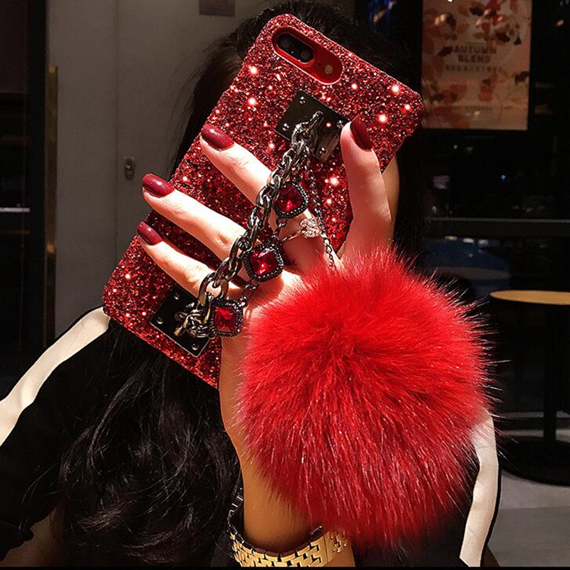 For iPhone X Case Glitter Luxury Bling Diamond Gem Bracelet Chain Tassel Fox Fur Ball Cover For Coque iPhone X Accessories Cover