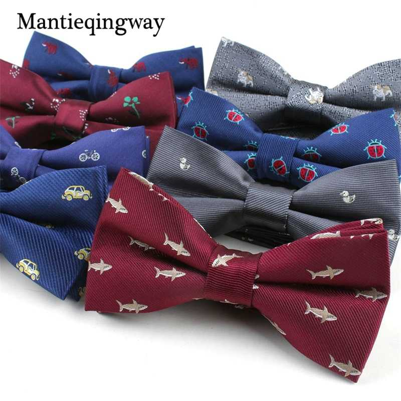 98fd2804b61d Mantieqingway Cartoon Fish Pattern Bow Tie for Mens Polyester Animals  Floral Printed Bowties for Mens Wedding